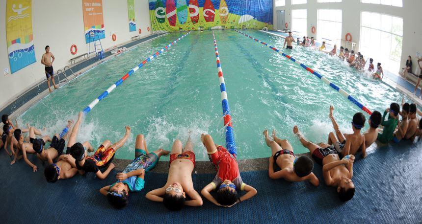 Hình ảnh hồ bơi trường học đã thi công, hoàn thiện tại TP. Hồ Chí Minh