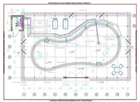 Bản vẽ thiết kế mẫu hồ bơi khách sạn